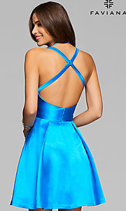 Image of short Faviana homecoming party dress with open back. Style: FA-7859 Back Image