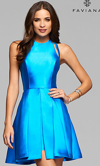 Short Faviana Homecoming Party Dress with Open Back