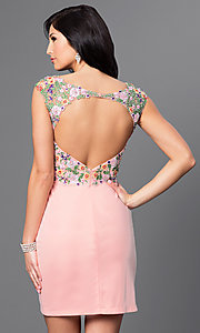 Image of embroidered-bodice short open-back homecoming dress. Style: FB-GS1435 Back Image