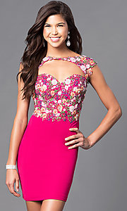 Image of embroidered-bodice short open-back homecoming dress. Style: FB-GS1435 Front Image