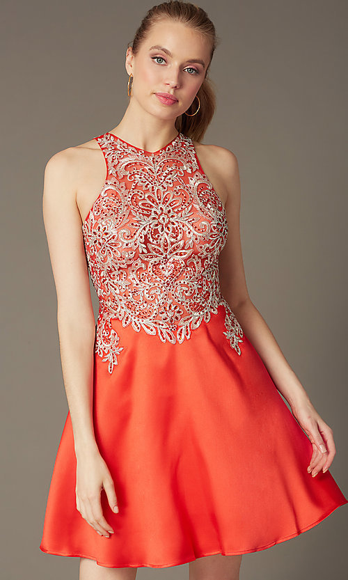 Image of homecoming party dress with embellished lace bodice. Style: FB-GS1442 Front Image