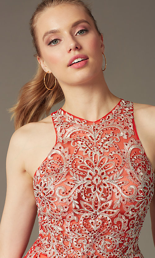 Image of homecoming party dress with embellished lace bodice. Style: FB-GS1442 Detail Image 1