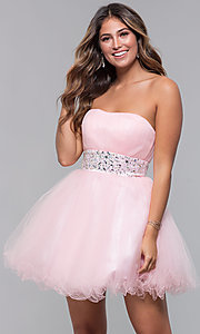 Image of short strapless homecoming party dress with corset. Style: FB-GS1053 Detail Image 5