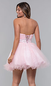 Image of short strapless homecoming party dress with corset. Style: FB-GS1053 Detail Image 6