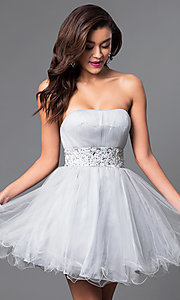 Image of short strapless homecoming party dress with corset. Style: FB-GS1053 Detail Image 4