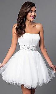 Image of short strapless homecoming party dress with corset. Style: FB-GS1053 Detail Image 1