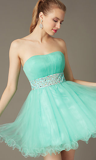Short Strapless Homecoming Party Dress with Corset