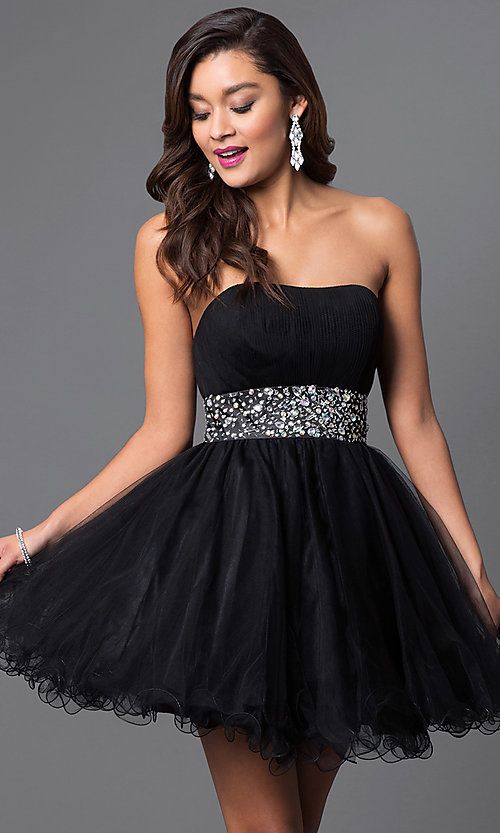 Image of short strapless homecoming party dress with corset. Style: FB-GS1053 Front Image