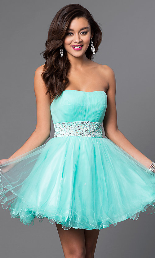 Image of short strapless homecoming party dress with corset. Style: FB-GS1053 Detail Image 2