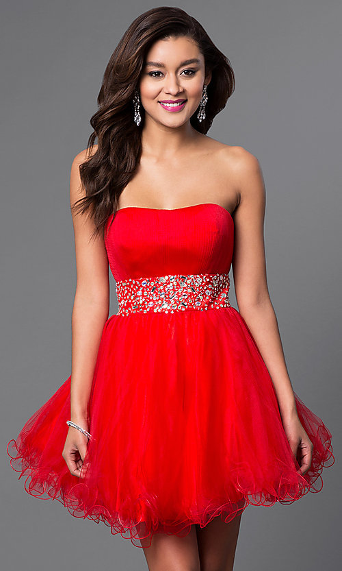 Image of short strapless homecoming party dress with corset. Style: FB-GS1053 Detail Image 3