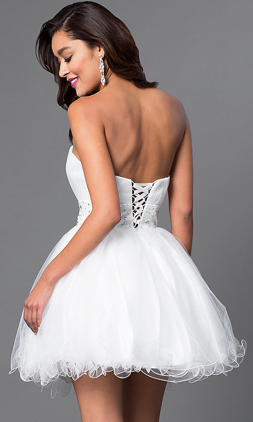 Image of short strapless homecoming party dress with corset. Style: FB-GS1053 Back Image