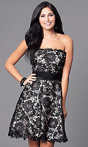 Image of strapless semi-formal party dress with floral lace. Style: FB-GS1450 Front Image