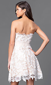 Image of strapless semi-formal party dress with floral lace. Style: FB-GS1450 Back Image