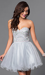 Image of short strapless sweetheart tulle party dress. Style: FB-GS1458 Front Image