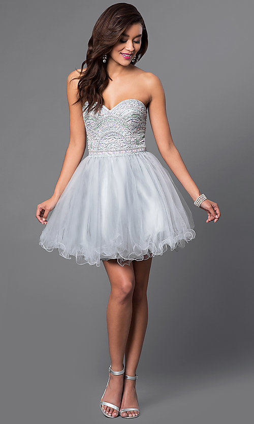Image of short strapless sweetheart tulle party dress. Style: FB-GS1458 Detail Image 1