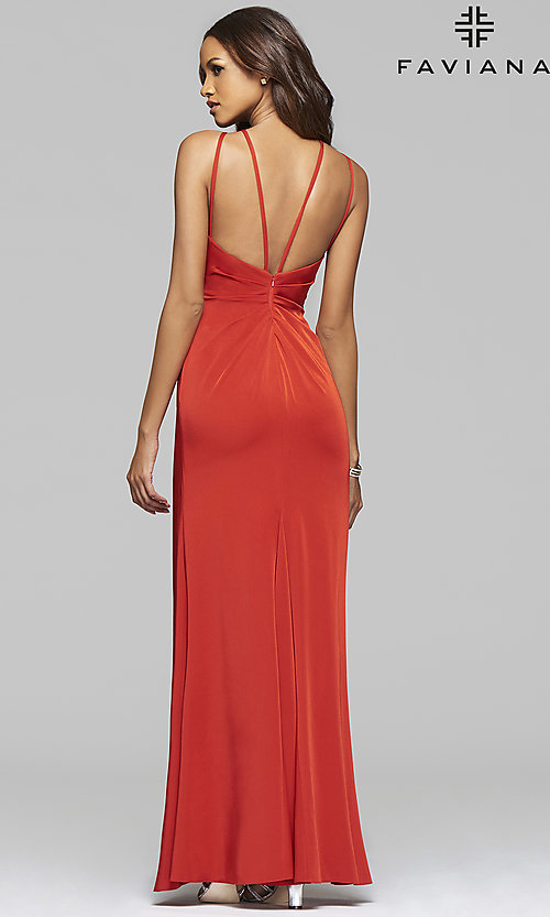 Image of floor-length high-neck gown by Faviana. Style: FA-7904 Back Image