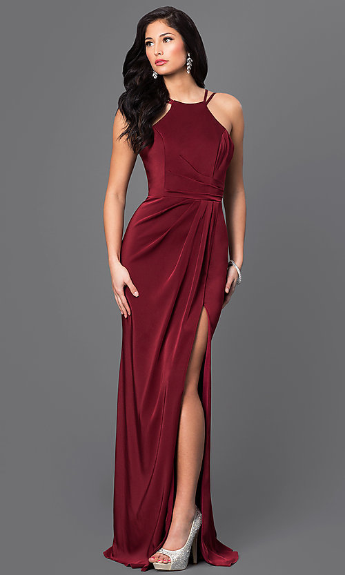 Image of floor-length high-neck gown by Faviana. Style: FA-7904 Front Image
