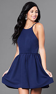 Image of open-back navy blue short cocktail party dress. Style: CQ-3478DW Front Image