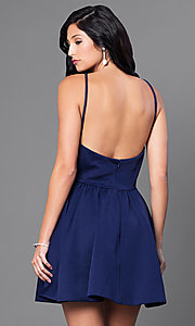 Image of open-back navy blue short cocktail party dress. Style: CQ-3478DW Back Image