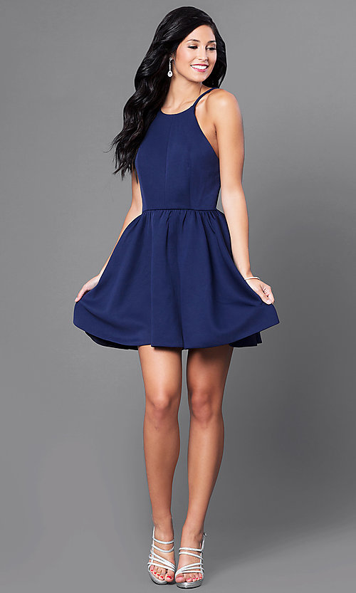 Image of open-back navy blue short cocktail party dress. Style: CQ-3478DW Detail Image 1