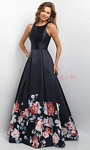 Image of long Blush prom ball gown with floral print.  Style: BL-11136 Front Image