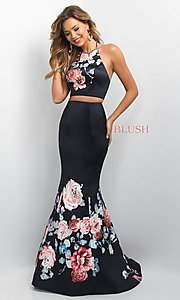 Image of two-piece long Blush prom dress with floral print. Style: BL-11137 Front Image