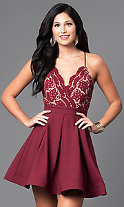 Image of short v-neck lace-bodice homecoming party dress. Style: LUX-LD2236 Front Image