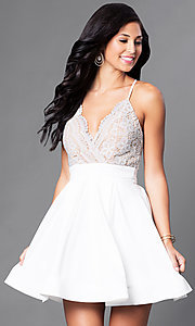 Image of short v-neck lace-bodice homecoming party dress. Style: LUX-LD2236 Detail Image 1