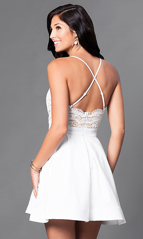 Image of short v-neck lace-bodice homecoming party dress. Style: LUX-LD2236 Back Image