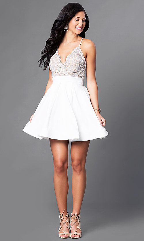 Image of short v-neck lace-bodice homecoming party dress. Style: LUX-LD2236 Detail Image 2