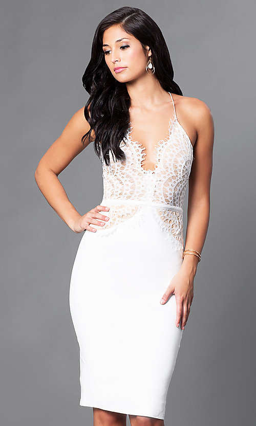 Image of lace-bodice knee-length v-neck cocktail dress. Style: LUX-LD2082 Front Image