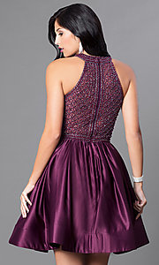 Image of eggplant purple short party dress with pockets. Style: CD-1526 Back Image