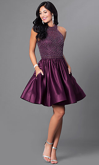 Eggplant Purple Party Dress with Pockets and Beads