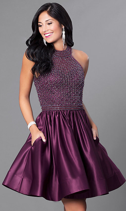 Image of eggplant purple short party dress with pockets. Style: CD-1526 Front Image