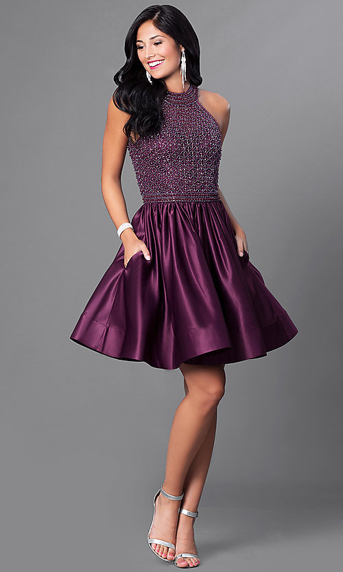 Image of eggplant purple short party dress with pockets. Style: CD-1526 Detail Image 1