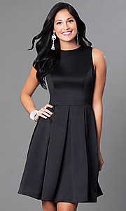 Image of sleeveless box-pleated short homecoming party dress. Style: CD-1546 Front Image