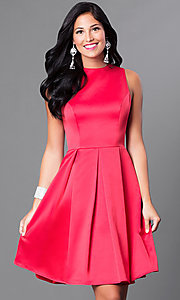 Image of sleeveless box-pleated short homecoming party dress. Style: CD-1546 Detail Image 3