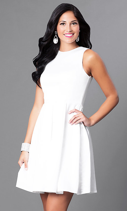 Image of sleeveless box-pleated short homecoming party dress. Style: CD-1546 Detail Image 2