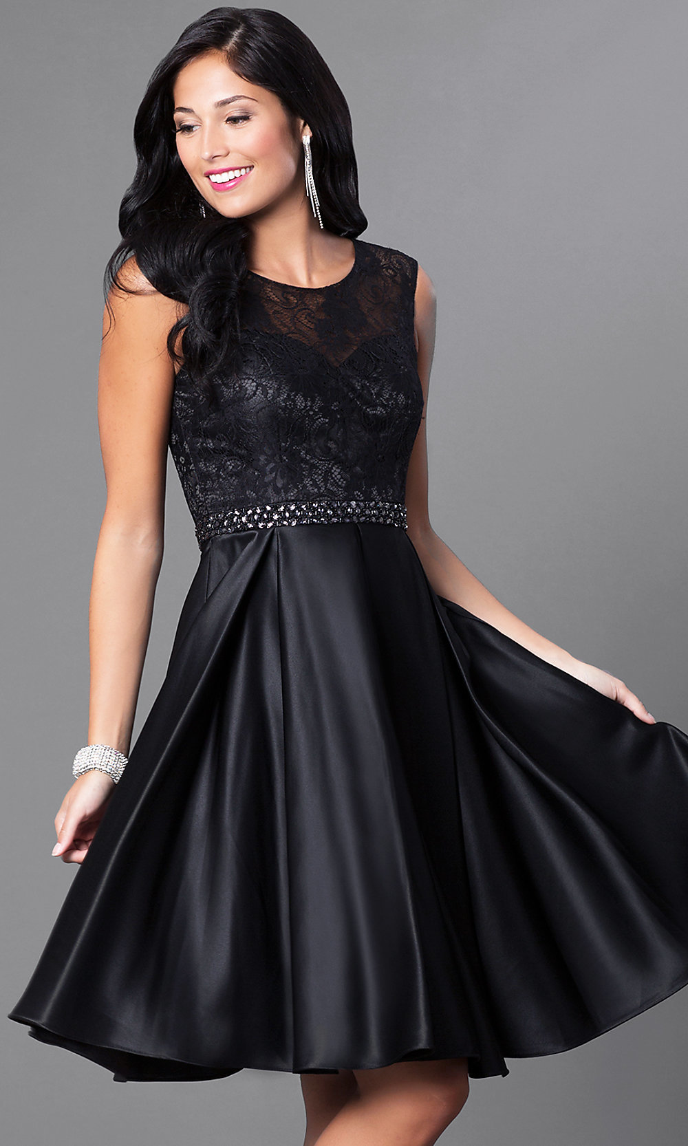 Image of lace-bodice knee-length semi-formal party dress. Style  Tap to  expand 00a58ca28