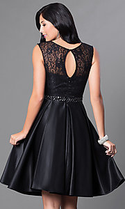 Image of lace-bodice knee-length semi-formal party dress. Style: CD-1548 Back Image