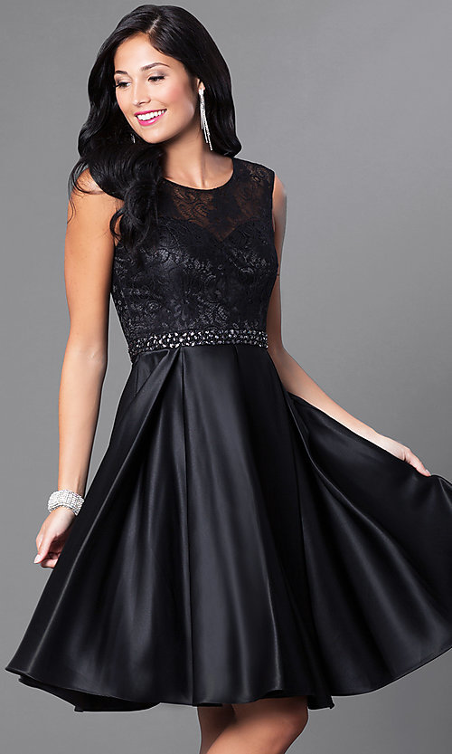 Image of lace-bodice knee-length semi-formal party dress. Style: CD-1548 Front Image