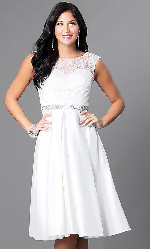 Image of lace-bodice knee-length semi-formal party dress. Style: CD-1548 Detail Image 2