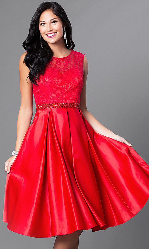 Image of lace-bodice knee-length semi-formal party dress. Style: CD-1548 Detail Image 3