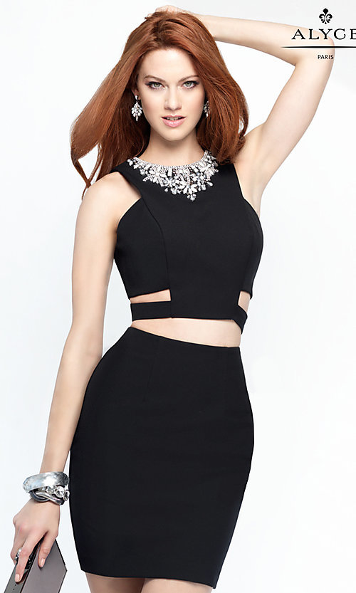 Image of Alyce two-piece short black cocktail dress. Style: AL-4452 Front Image