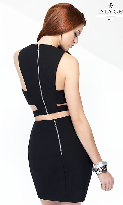 Image of Alyce two-piece short black cocktail dress. Style: AL-4452 Back Image