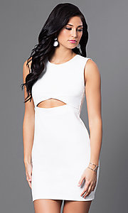 Image of short semi-formal cocktail party dress with cut out. Style: CH-2781 Front Image