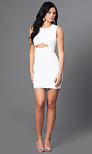 Image of short semi-formal cocktail party dress with cut out. Style: CH-2781 Detail Image 1