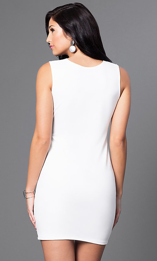 Image of short semi-formal cocktail party dress with cut out. Style: CH-2781 Back Image