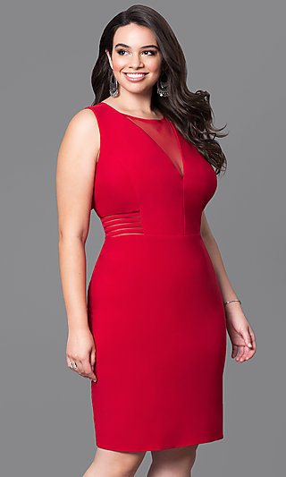 Short Plus-Size Holiday Party Dress with Cut Outs
