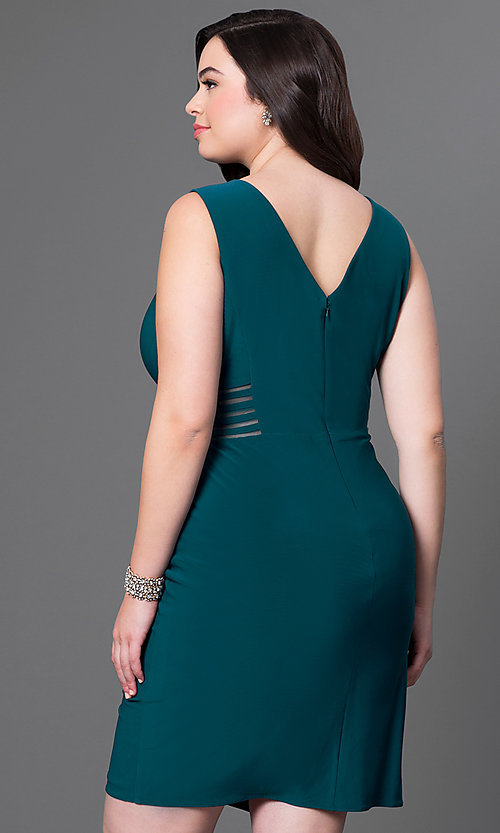 Image of short plus-size holiday party dress with cut outs. Style: MO-12272WM Back Image